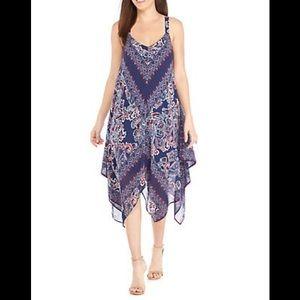Luxology Maxi Print Handkerchief Hem Dress NWT
